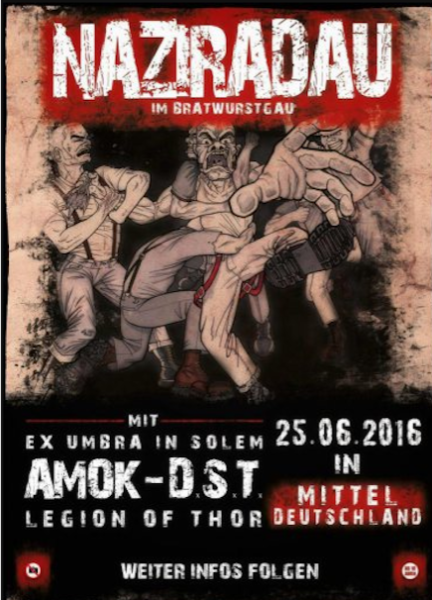 Flyer für Konzert in Thüringen mit Bands aus dem Blood and Honour Netzwerk.