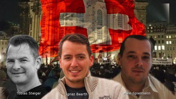 Die Köpfe hinter Pegida Schweiz: Tobias Steiger, Ignaz Bearth-Holdener und Mike Spielmann.