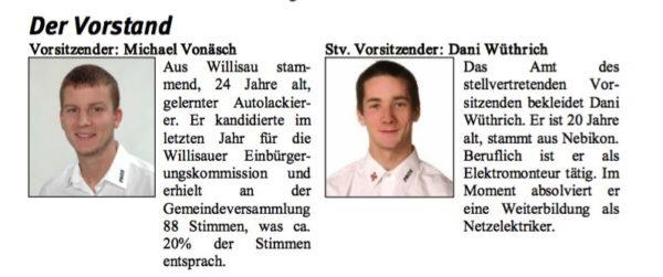 Michael Vonäsch und Daniel Wüthrich, Vorstand der PNOS Willisau, stellten sich 2007 auf einem Flugblatt gleich selber vor.