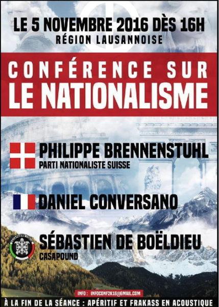 Flyer für Konferenz welche in Fully (VS) stattfand. Brennenstuhl sagte seine Teilnahme kurzfristig ab.