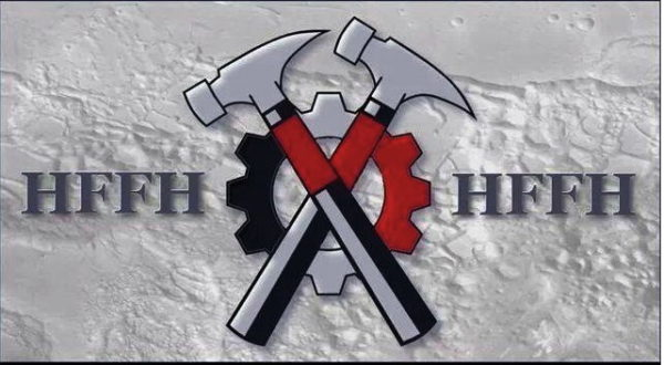 HFFH steht für «Hammerskins Forever - Forever Hammerskins» und wird oft als Grussformel verwendet. Die gekreuzten Hämmer dürfen nur von Vollmitgliedern verwendet werden.