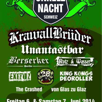 """Flyer der 5. Onkelznacht auf der Wäckerschwend - mit dabei die Band """"Von Glas zu Glaz"""" der beiden rechtsextremen Brüder Cedric und Alex Rohrbach."""