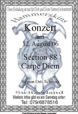 Flyer für das geplante Hammerskin-Konzert in der Teigwarenfabriik in Kradolf-Schönenberg im August 2006.