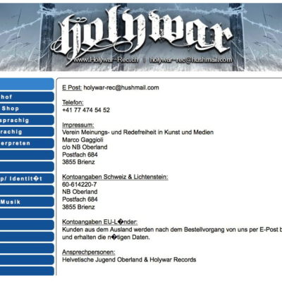 Screenshot des ehemaligen Online-Shops Holywar Records.