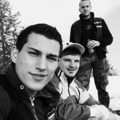 Joel Zweifel (l.) mit Patrick Muff und Blood & Honour-Mitglied Attila Varga (r.)