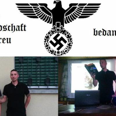 Die Kameradschaft Heimattreu bedankt sich bei Philippe Eglin für seinen Vortrag mit eindeutiger Symbolik (links: Joel Zweifel)