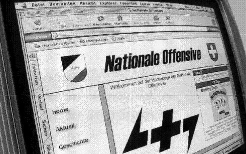 Screenshot der ehemaligen Webseite der Nationalen Offensive mit ihrem Logo.