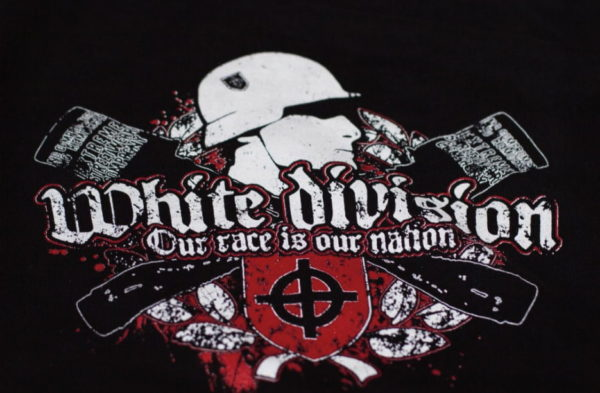 "T-Shirt Design des No Compromise No Remorse mit Aufschrift ""white division-our race is our nation"""