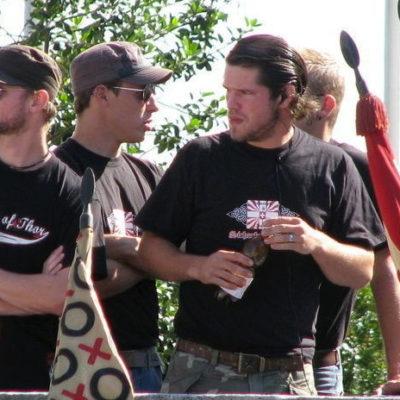 Pascal Lüthard (r.) als Sicherheitsdienst an der Schlachtfeier Sempach 2008.