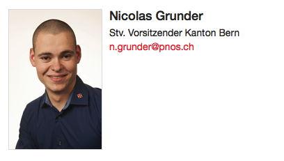 Nicolas Grunder amtet seit Mitte 2016 als stellvertretender Vorsitzender der PNOS Bern.