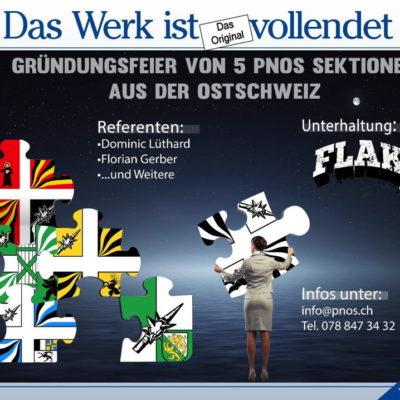 Flyer zur offiziellen Gründungsfeier der fünf einzelnen Ostschweizer Sektionen - mit dem rechtsextremen Balladensänger Philipp Neumann.