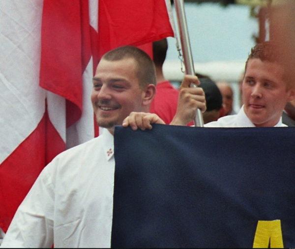 Tobias Hirschi (l.) mit Dominic Bannholzer am Rütli-Aufmarsch 2005.