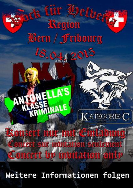 Flyer, mit dem das Kategorie C Konzert im Frühjahr 2015 grossspurig angekündigt wurde.
